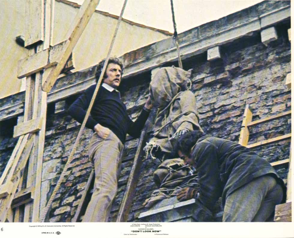 Donald Sutherland on ladder Don't Look Now 1973 8x10