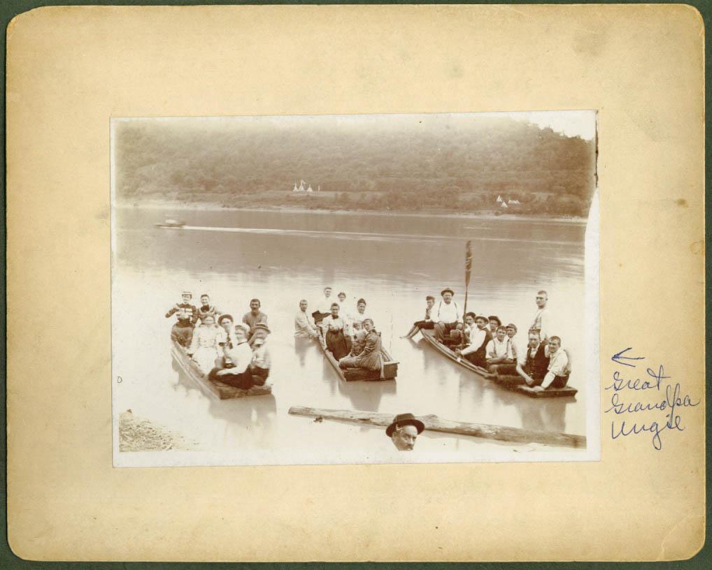 25 people 3 rowboats unknown lake Grandpa Ungie photo