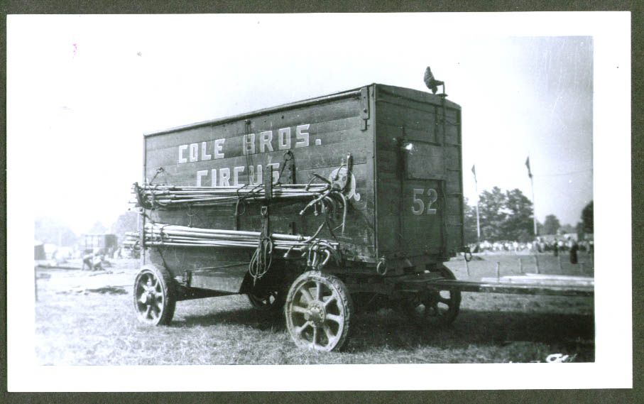 Light pole wagon #52 Cole Bros Circus backlot 1942