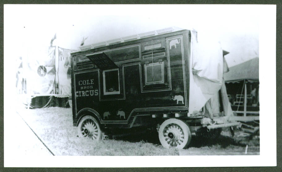 Bank Wagon Cole Bros Circus backlot 1936
