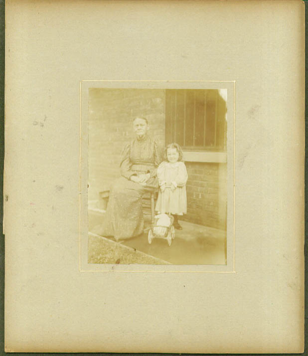 Grandmother child & doll carriage photo ca 1895