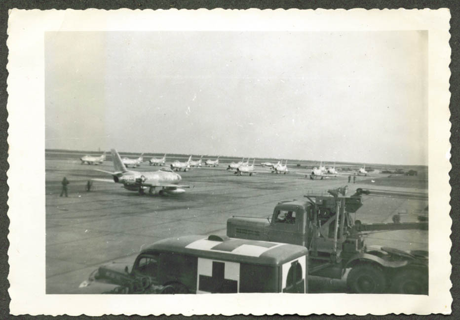 F-86 Sabres on apron Suffolk AFB Westhampton NY 1951
