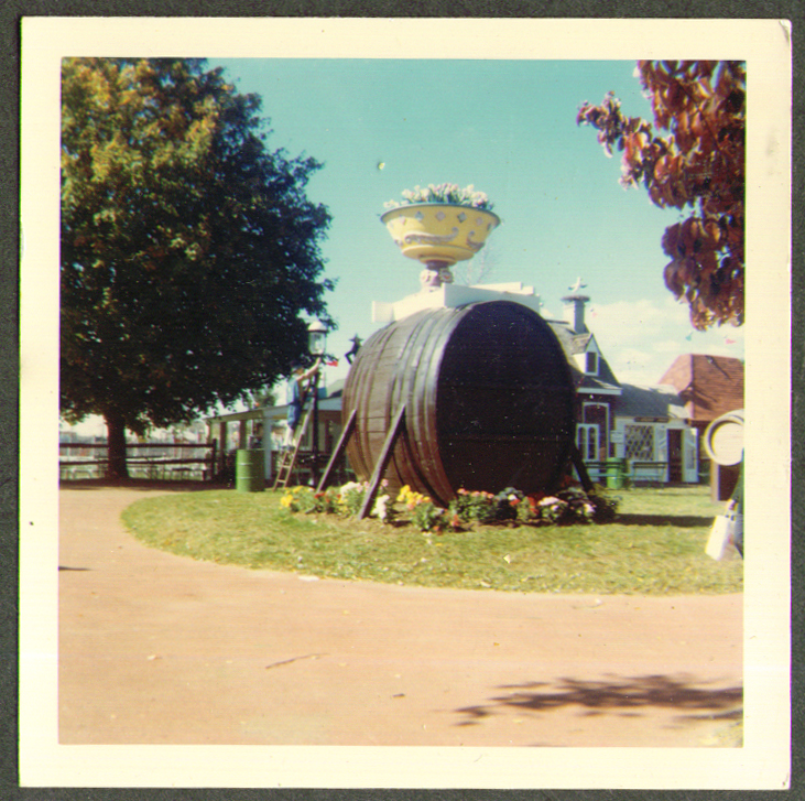 Giant Wine Cask Danbury Fair CT color photo 1966