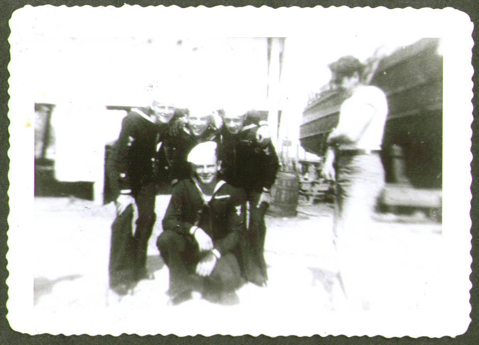 4 crew in blues 1 not USCG CG-83465 drydock photo 1944