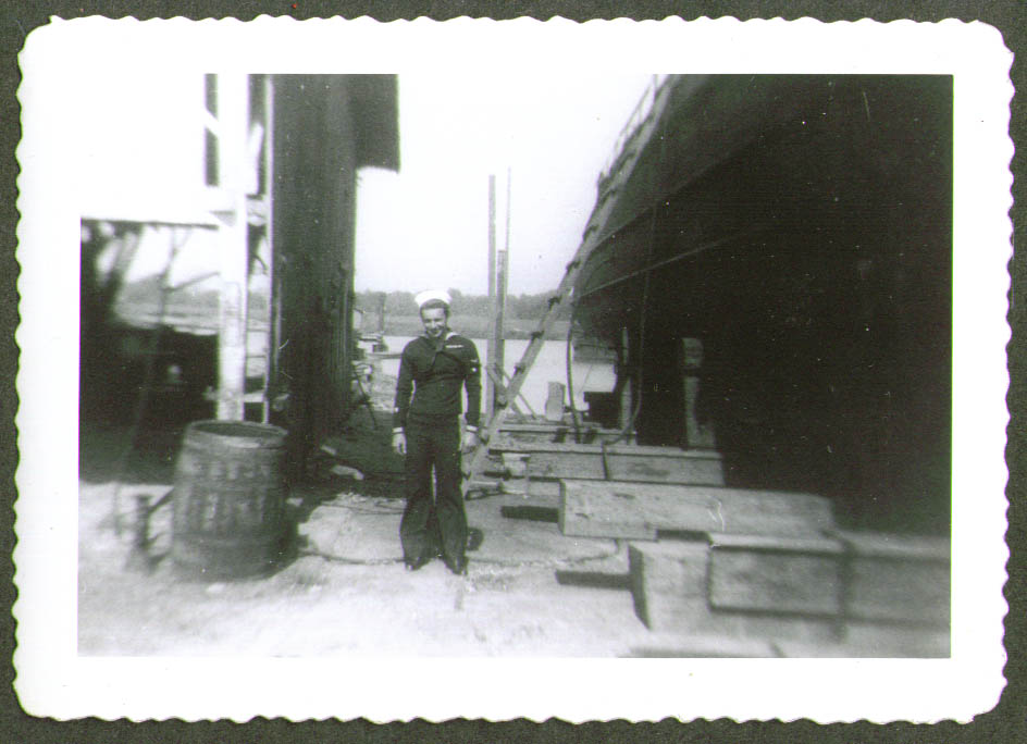 Crewman in blues USCG CG-83465 drydock photo 1944