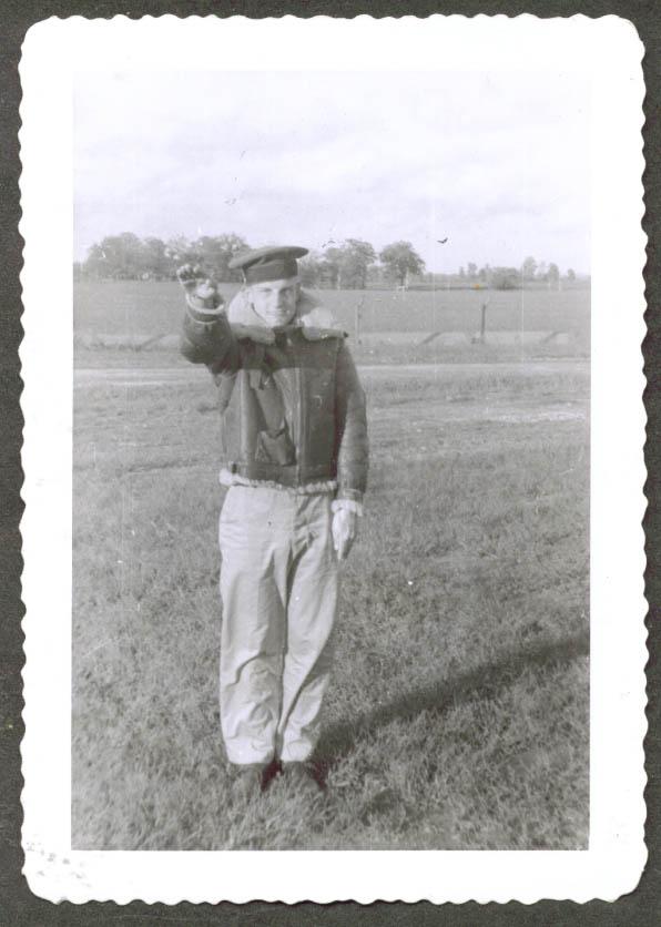 Airman imitating Heil Hitler salute Camp McCoy 1943