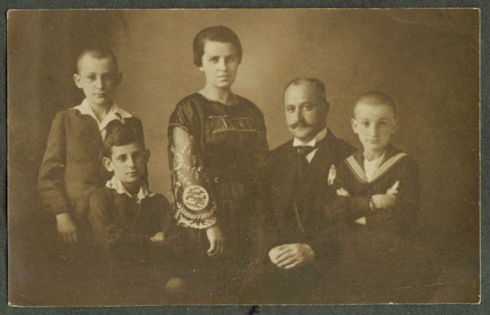 Mother father & 3 boys Hedwig Family RPPC ca 1910