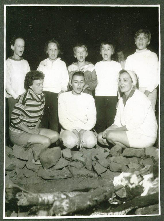 Boys girls women TMCA Campfire Sing Meriden CT 1967.