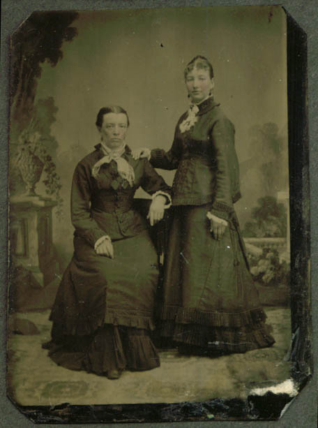 2 women tiered skirts pink cheeks studio tintype
