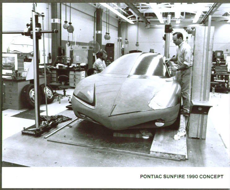 1990 Pontiac Sunfire Concept Car 8x10 clay trimming out