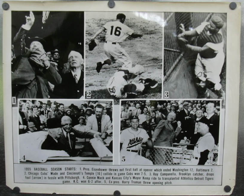 Image for Ike Truman open 1955 Baseball Season photo Campanella +