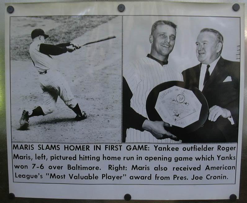 Image for Maris homers in opener; gets 1960 MVP award photo 1961