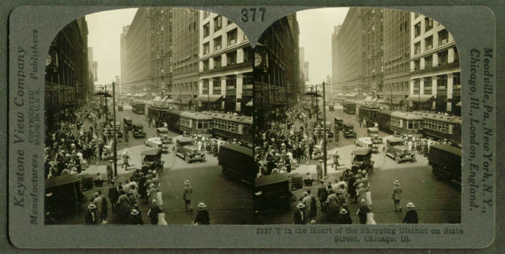 State St Shopping District Chicago IL stereoview 1910s
