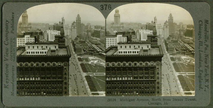 Michigan av from Straus Tower Chicago stereoview 1910s