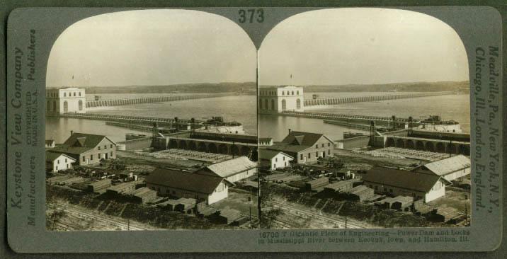 Dam & Locks Keokuk IA Hamilton IL stereoview 1910s