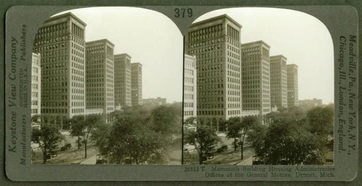 General Motors Administration Buildings Detroit MI stereoview 1910s