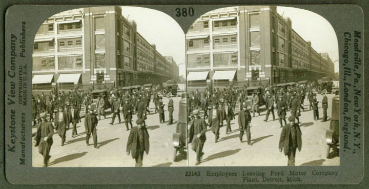 Employes leave Ford Plant Detroit MI stereoview 1920s