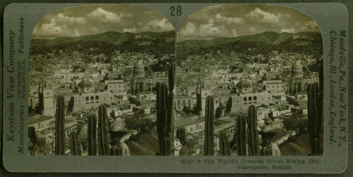 Silver mining city of Guanajuato Mexico stereoview 1910s