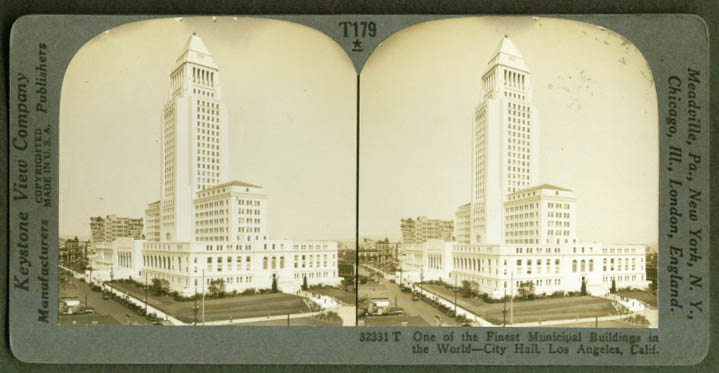 Los Angeles City Hall Los Angeles CA stereoview 1920s