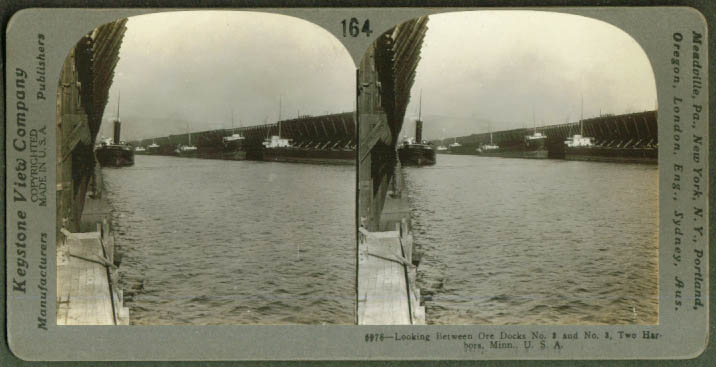 Ore Docks #2 & #3 Two Harbors MN stereoview 1906