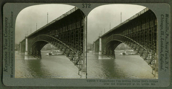 Ead's Bridge Mississippi River St Louis stereoview