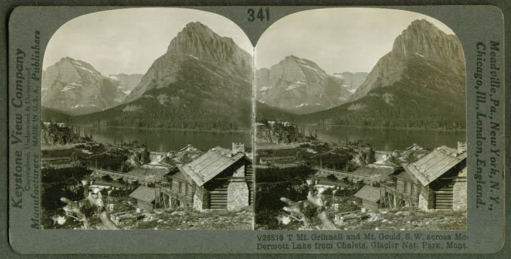 Mt Grinnell & Gould from Chalets Glacier MT stereoview