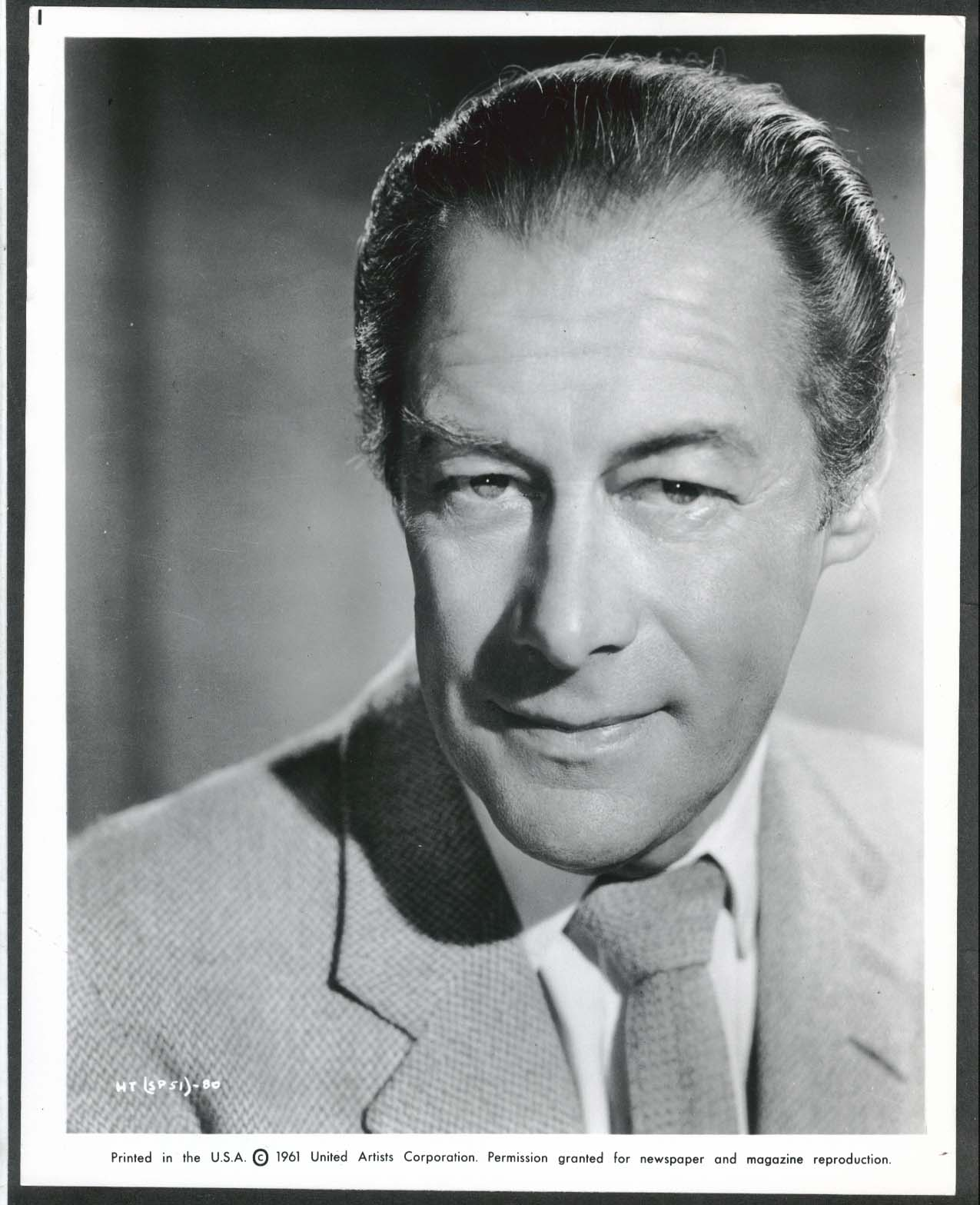 Image for Rex Harrison The Happy Thieves headshot 8x10 photograph 1961