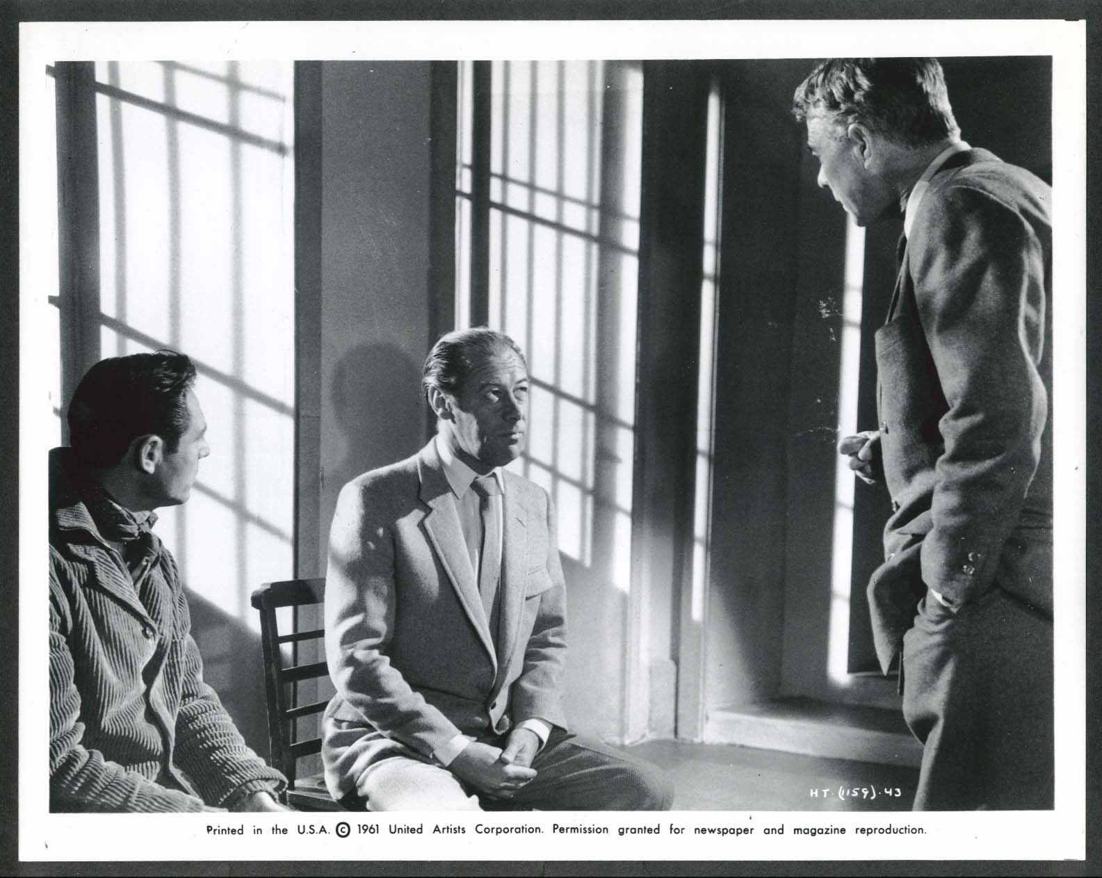 Image for Rex Harrison The Happy Thieves interrogation 8x10 photograph 1961