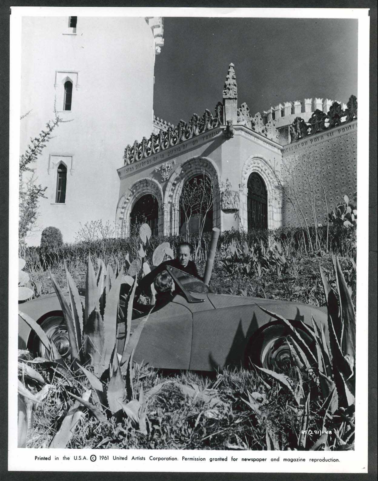 Image for Rita Hayworth Rex Harrison The Happy Thieves Spain sports car 8x10 photo 1961
