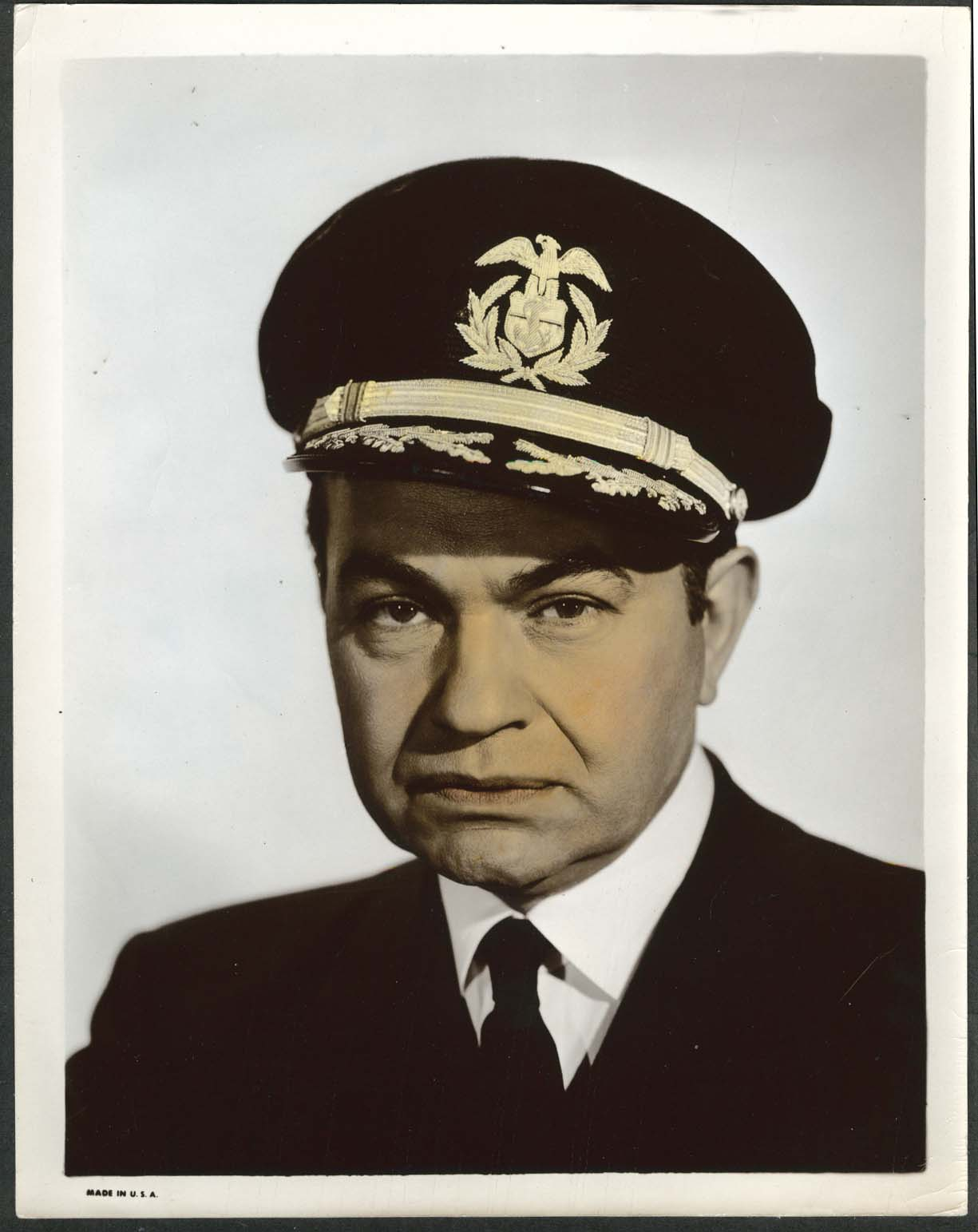 Image for Edward G Robinson Navy officer uniform 8x10 photograph colorized 1940s