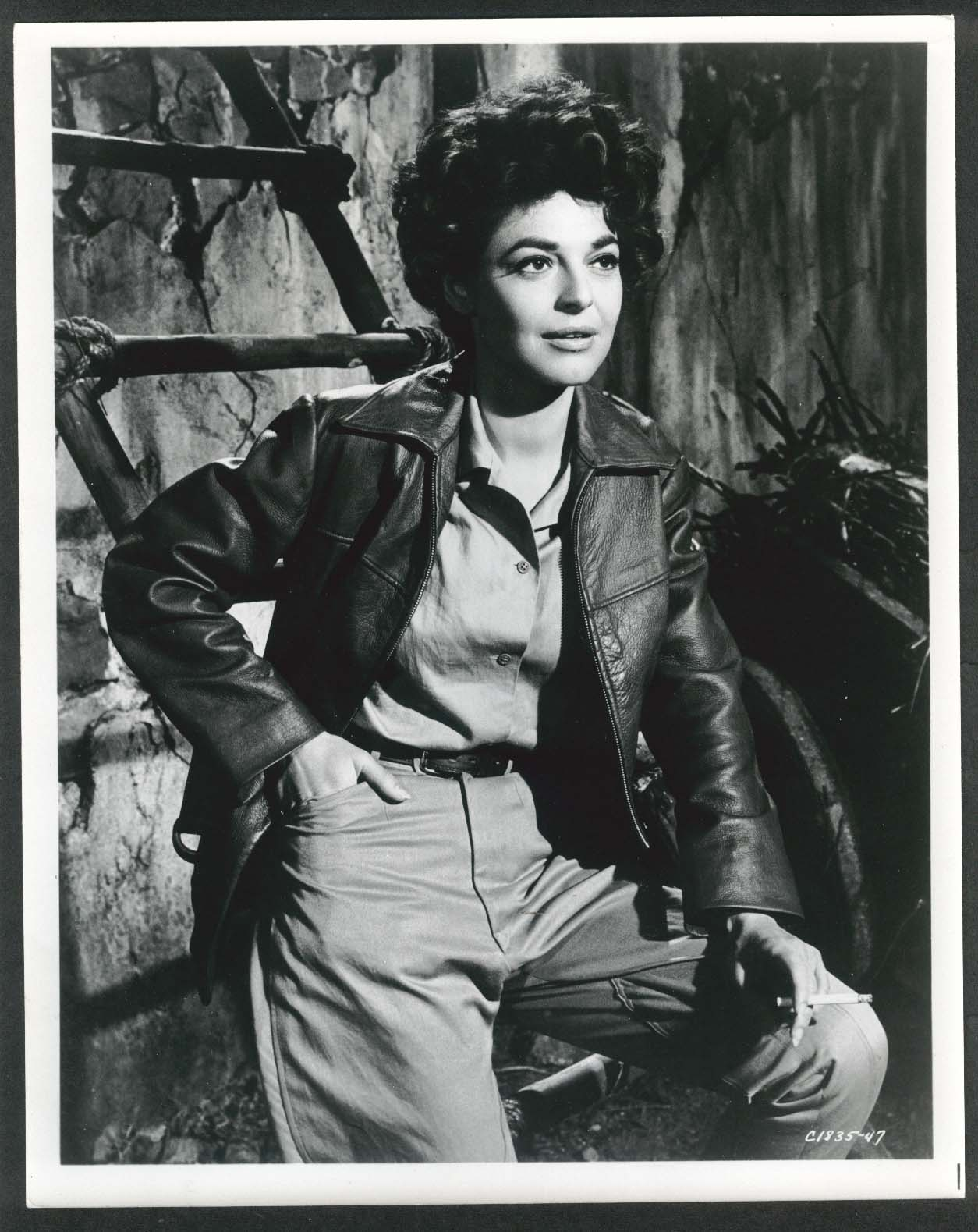 Image for Anne Bancroft short hair leather jacket cigarette 8x10 photograph 1950s