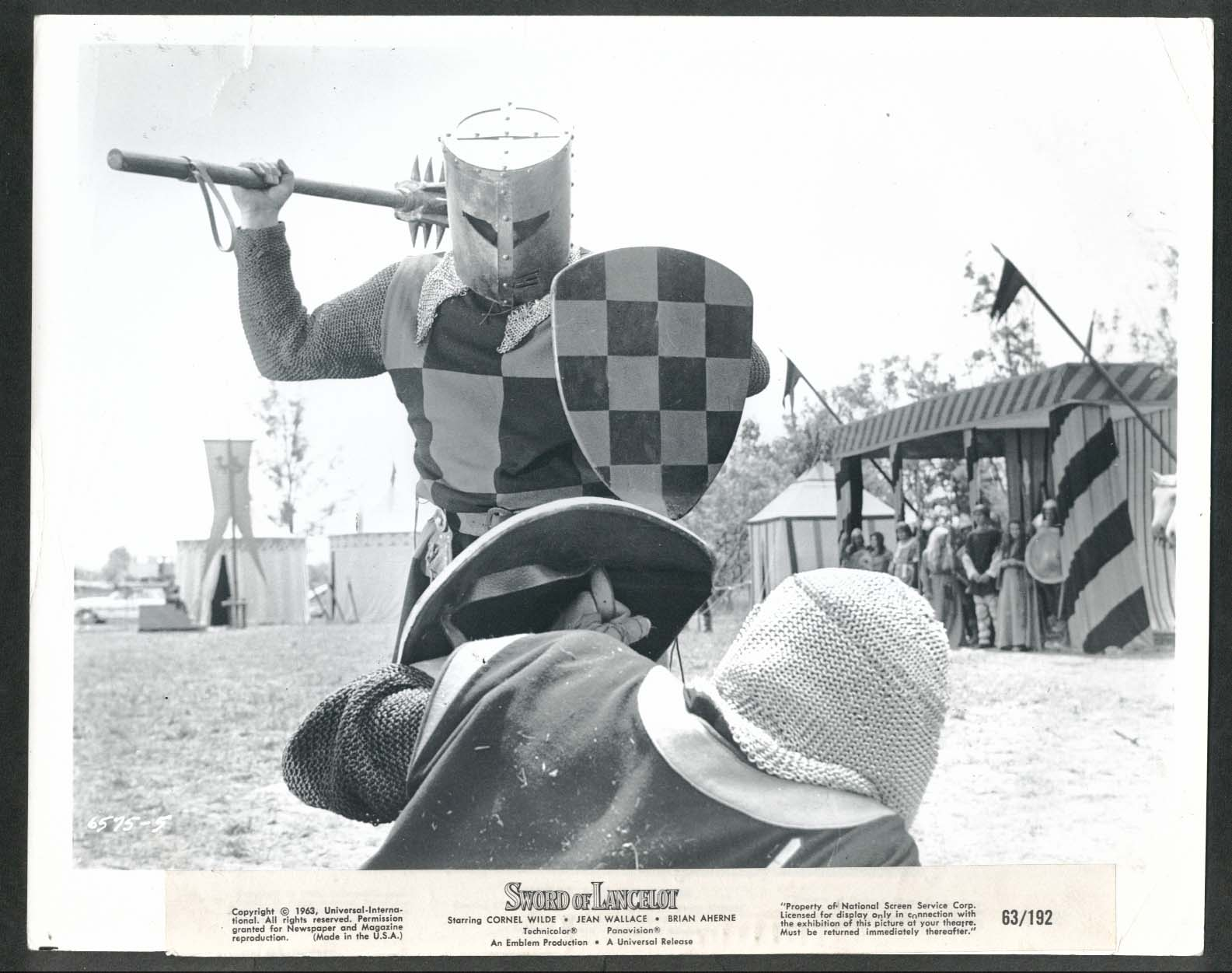 Image for Sword of Lancelot jousting fight scene 8x10 photograph 1963