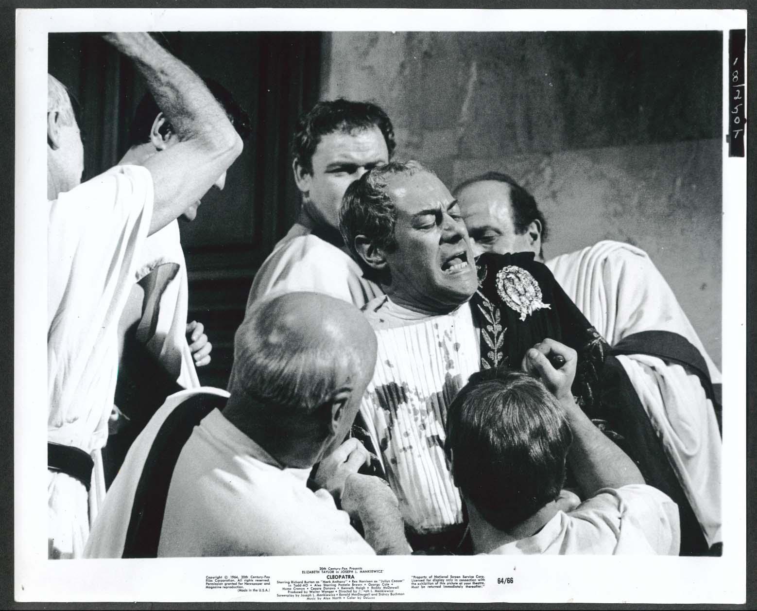 Image for Rex Harrison Cleopatra Caesar murder scene 8x10 photograph 1964