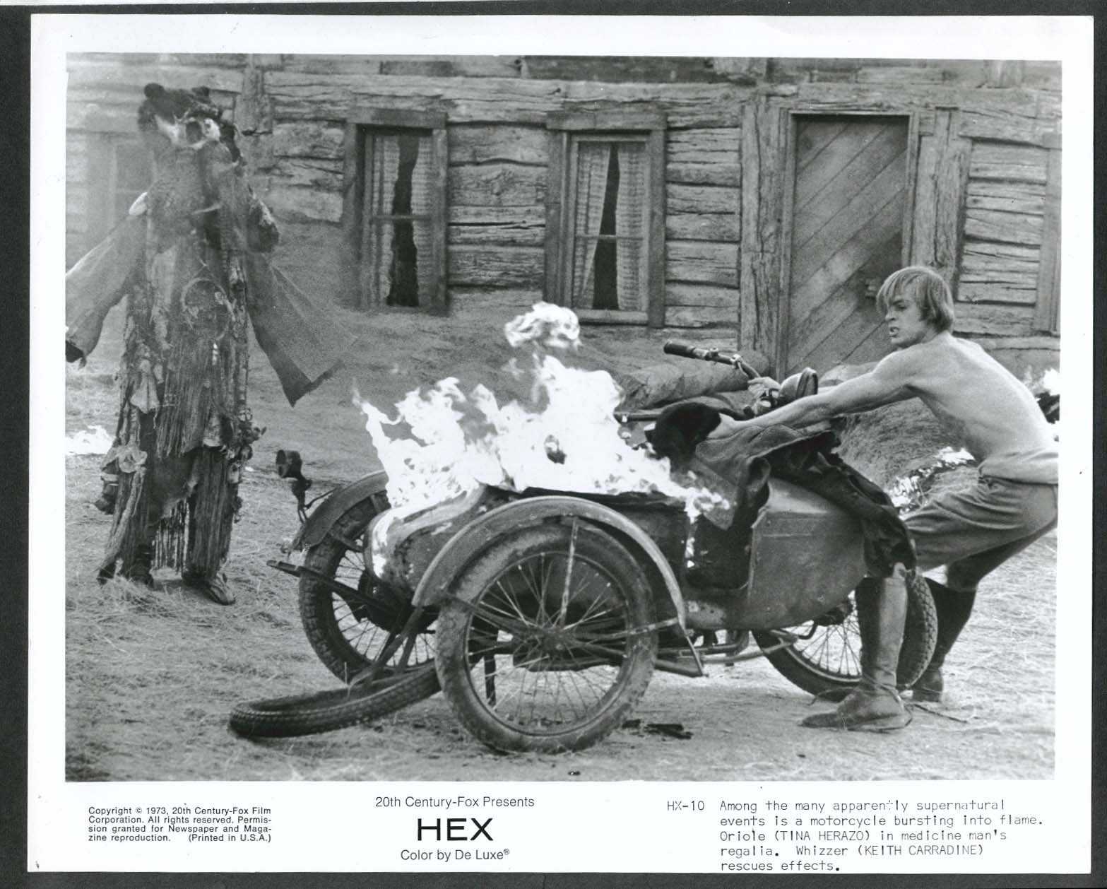 Image for Keith Carradine Hex flaming motorcycle 8x10 photograph 1973