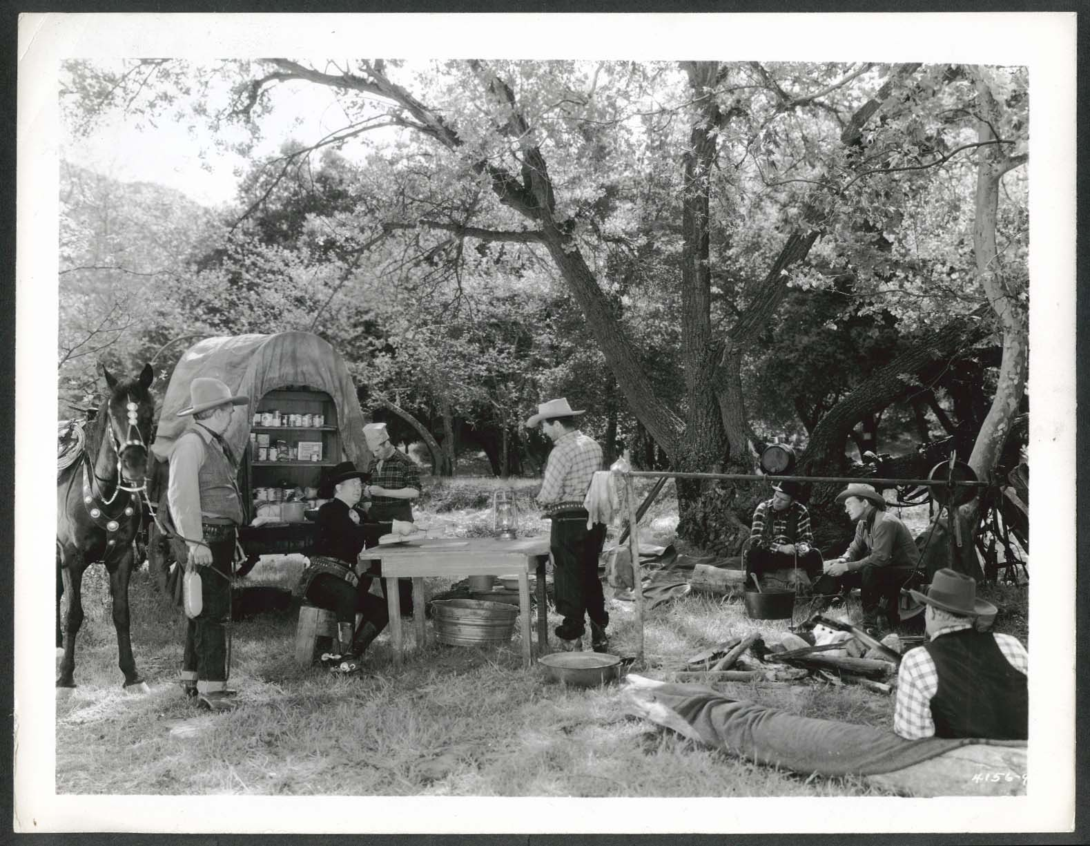 Image for Tim McCoy at campsite 8x10 photograph 1940s