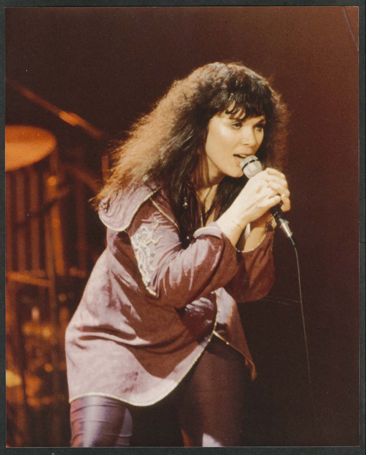 Ann Wilson of Heart performing on stage 8x10 photograph 1980s