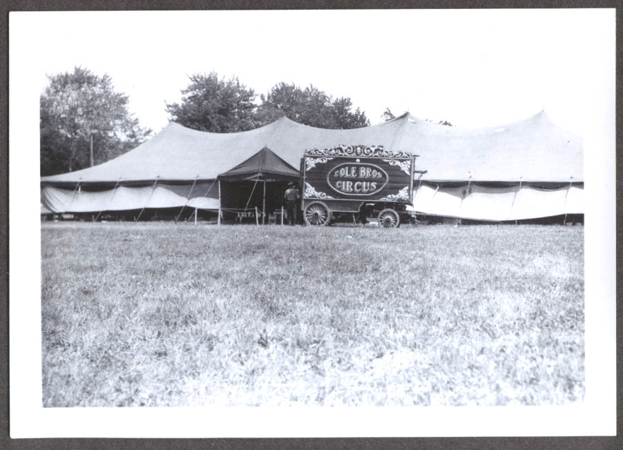 Big Top & Wagon before show Cole Bros circus photo 1939