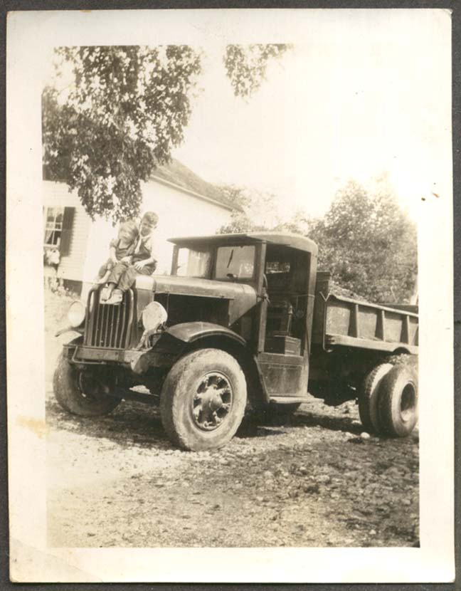 Boys playing on Brockway Dump Truck photo #2 ca 1930s
