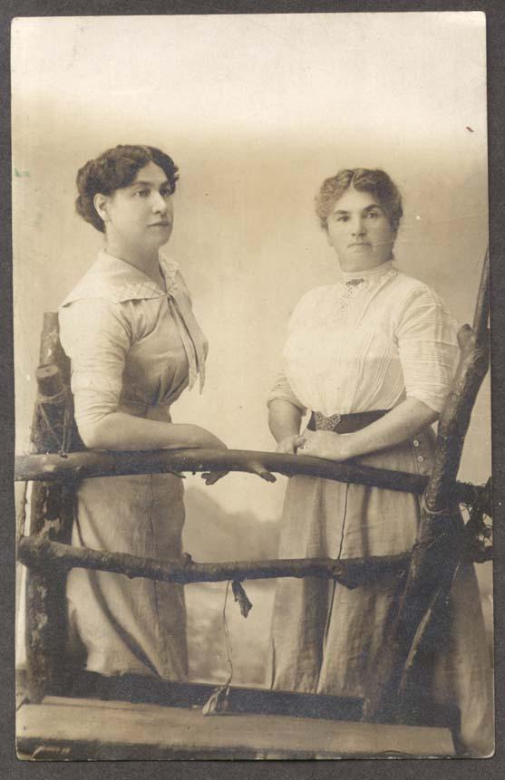 Carrie & Momma rustic studio RPPC photo ca 1910