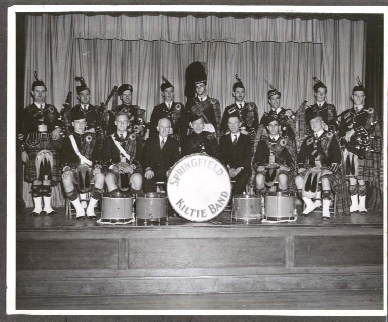 Springfield Kiltie Band on stage MA photo ca 1950s
