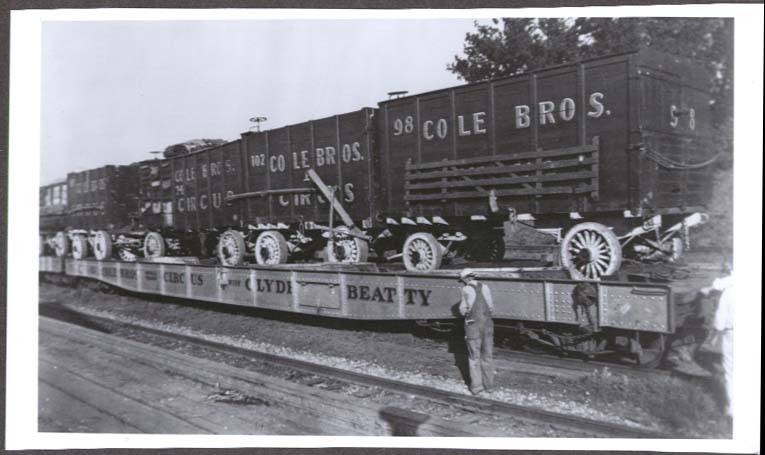 Cole Bros Circus Clyde Beatty train flat photo ca 1930s