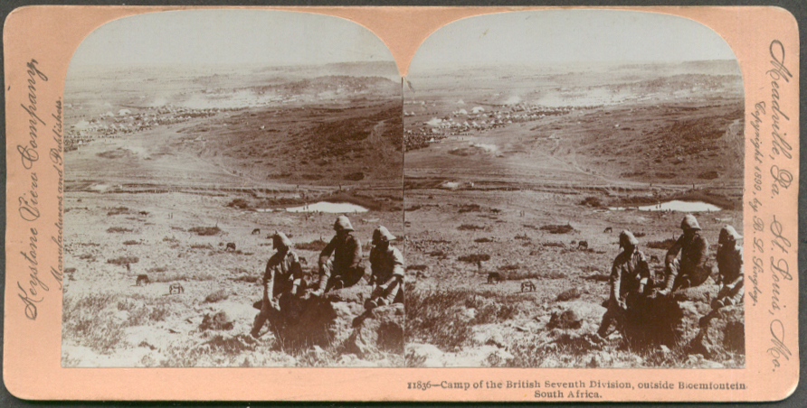 British 7th Camp Bloemfontein S Africa stereoview 1899