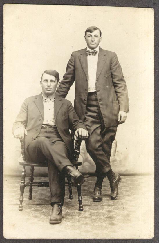 2 men neckties RPPC Brinkmier's Studio Moundsville WV