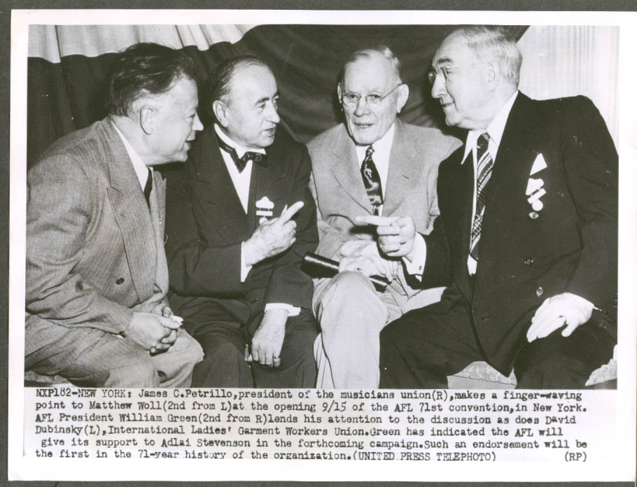 Image for James C Petrillo Matthew Woll Wm Green David Dubinsky AFL Convention 8x10 1952