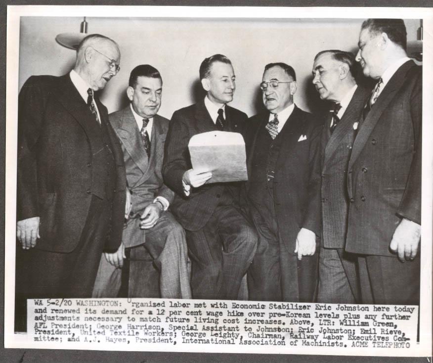 Image for Labor leaders meet Economic Stabilizer Eric Johnston AFL Meeting 8x10 1951