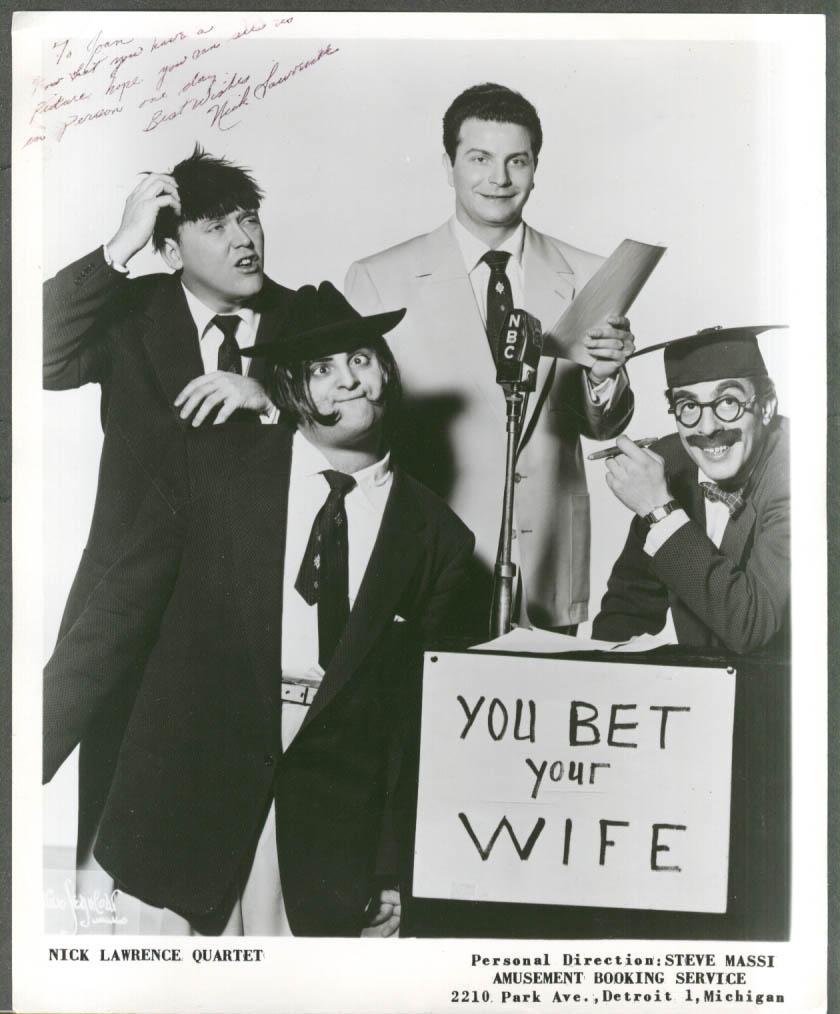 Image for Nick Lawrence Quartet Detroit MI 8x10 SIGNED by Nick ca 1950s