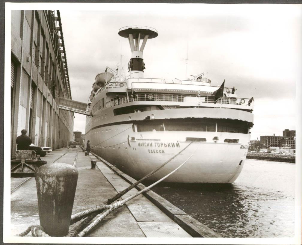 Image for Soviet ocean liner S S Maxim Gorky at Boston pier 8x10 1974