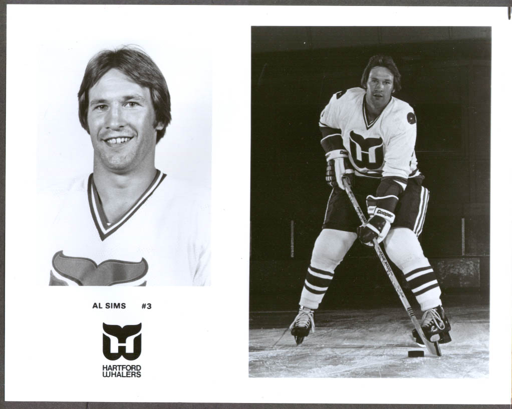 Image for Hartford Whalers defenseman Al Sims #3 press 8x10 hockey photo
