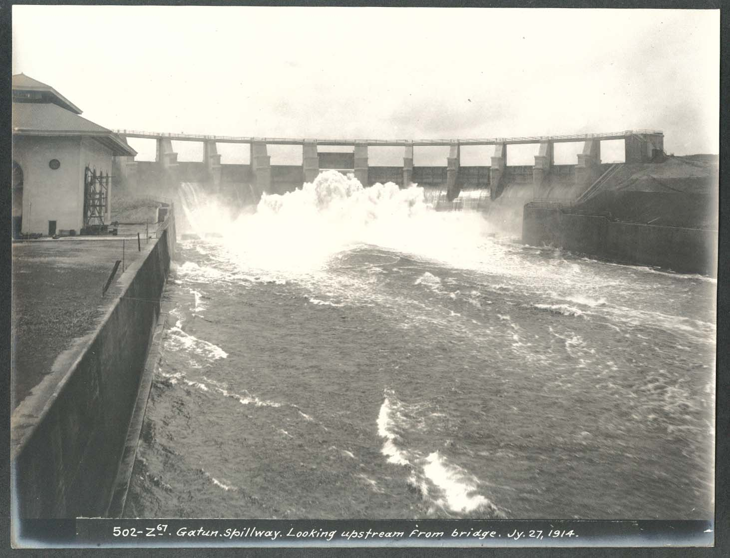 Image for Panama Canal photo 1914 Gatun Spillway lloking upstream from bridge