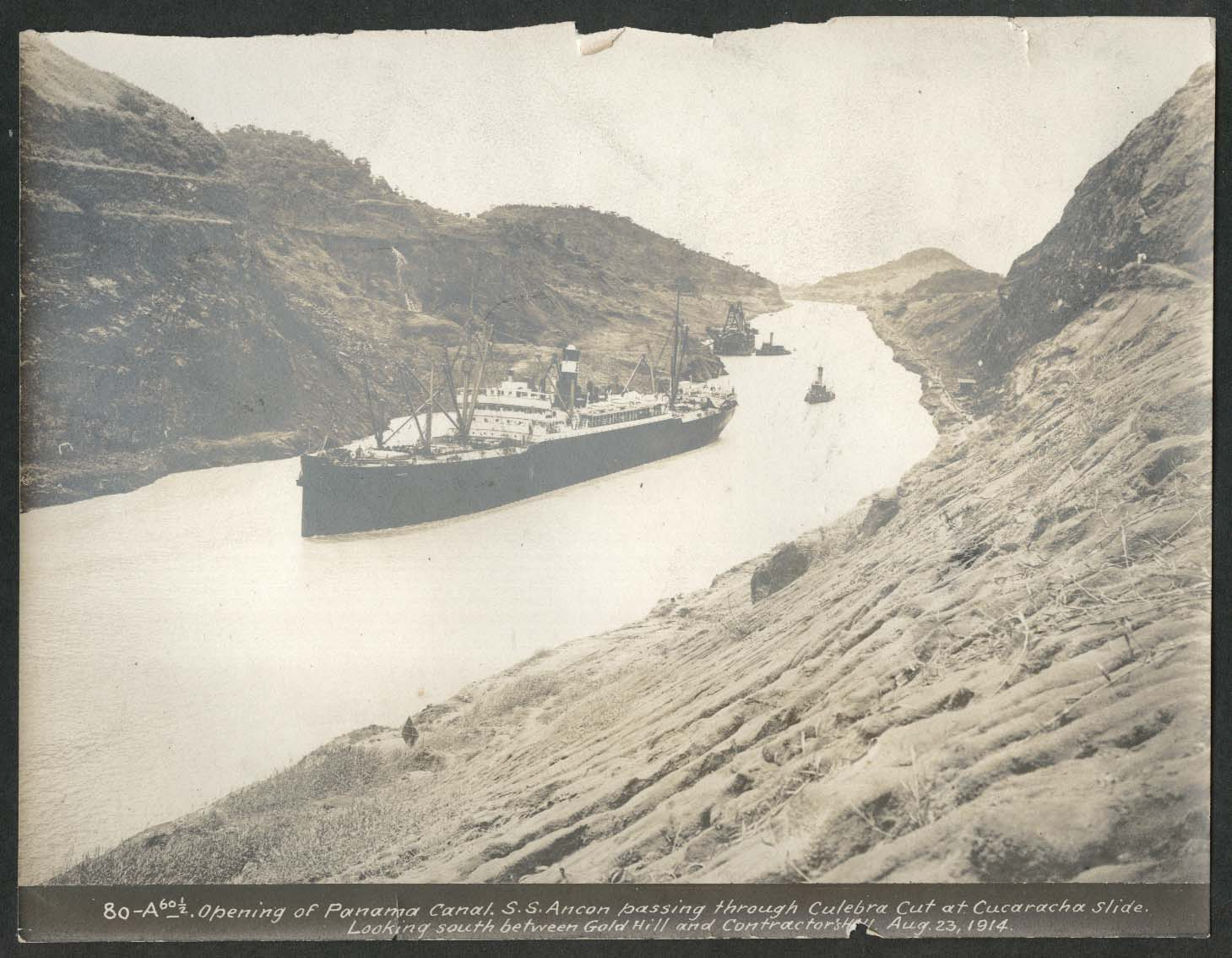 Image for Panama Canal photo 1914 Opening of canal with S S Ancon at Culebra Cut
